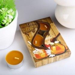 """Набор чайных свечей в гильзе """"Мёд"""" в подарочной коробке, 6 шт"""