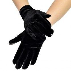 Перчатки чёрные бархатные короткие