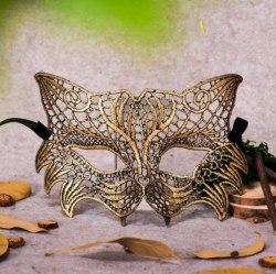 """Золотистая ажурная карнавальная маска """"Кошечка"""""""