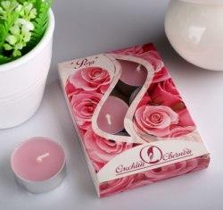 """Набор чайных свечей в гильзе """"Роза"""" в подарочной коробке, 6 шт"""