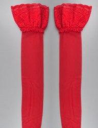 Чулки красные BEILEISI с высоким бортом на силиконе