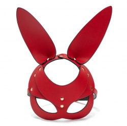 "Маска красная закрытая кожаная ""Кролик"""