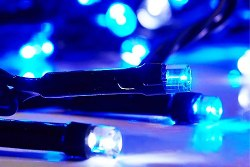 Светодиодный Клип Лайт Синий Флеш (моргает каждый 5ый диод) 12V/60W, бухта 100 метров, 1000 LED,шаг 10 см. прозрачный провод, без трансформатора