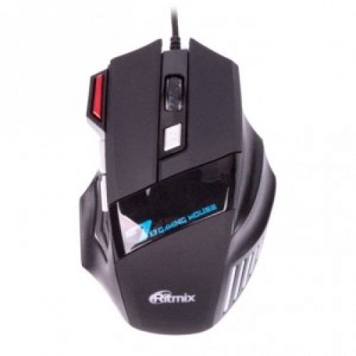 Мышь Ritmix ROM-345, Черный Mouse optical, 7 buttons, USB, 800/1200/1600/2400dpi, black