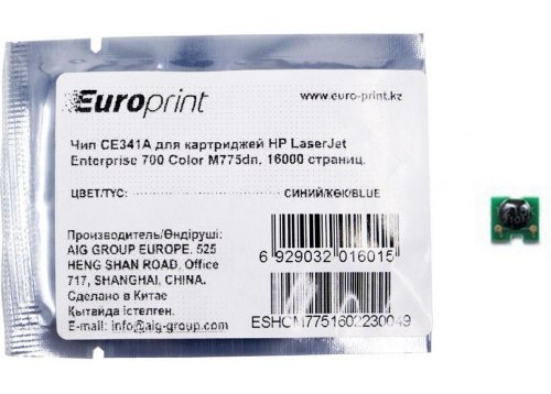 Чип, Europrint, CE341A, Для картриджей HP LaserJet Enterprise 700 Color M775dn, 16000 страниц