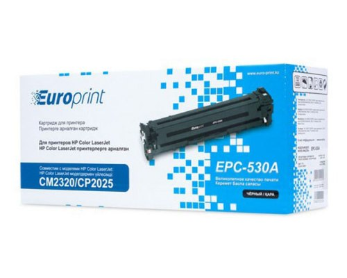Картридж, Europrint, EPC-530A, Чёрный, Для принтеров HP Color LaserJet CM2320/CP2025, 3500 страниц.