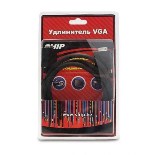 Удлинитель, SHIP, VG004M/F-1.5B, VGA, 15Male/15Female, Чёрный, Блистер, 1.5 м