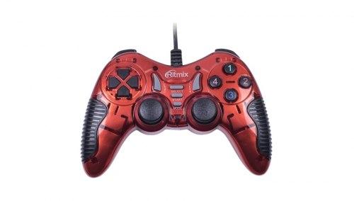 Джойстик Ritmix GP-007, Красный ,Joystick gamepad, 17 buttons + 2 sticks, vibro, PC, USB, 1.5m cable, red