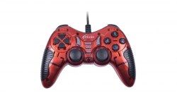 Джойстик Ritmix GP-007, Красный ,Joystick gamepad, 17 buttons + 2 sticks, vibro, PC, USB, 1.5m cable, red