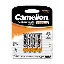 Аккумулятор, CAMELION, NH-AAA1100BP4, Lockbox Rechargeable, AAA, 1.2V, 1100 mAh, 4 шт., Блистер