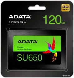 Твердотельный накопитель SSD ADATA Ultimate SU650, 120 GB SATA ASU650SS-120GT-R, SATA 6Gb/s, 3D NAND