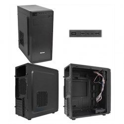 Корпус ATX midi tower Qmax KB13B, (400W), черный ,Case black
