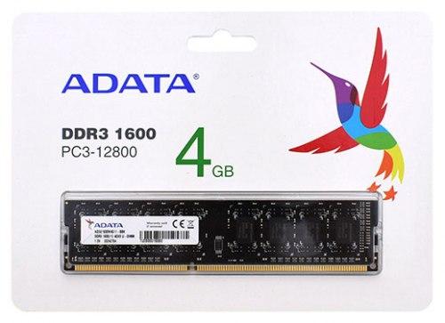 Модуль памяти ADATA, AD3U1600W4G11-RBK, DDR3, 4 GB ,DIMM <PC3-12800/1600MHz> CL11, 8 chip