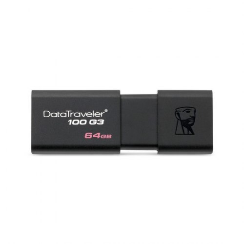 USB-накопитель, Kingston, DT100G3 64GB, USB 3.0, 5000 Мбит/сек, Чёрный