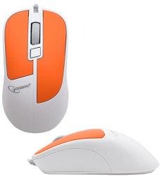 Мышь Gembird MOP-410-O, Optical, 1600 dpi, USB, белый-оранжевый