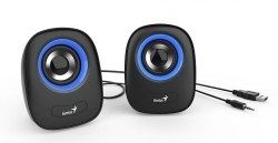Колонки, Genius, SP-Q160, 6Вт, USB, Длина кабеля 1,5м, Голубой
