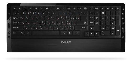 Клавиатура Delux DLK-1900UB, Мультимедийная, Ультра-тонкая, USB, Анг/Рус/Каз, Чёрный