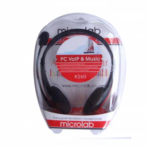 Наушники Microlab K260, Выходная мощность 90мВт, Тип крепления: Дуговые, Микрофон, 3,5 MiniJack*2, Регулятор громкости, Длина кабеля 2м, Чёрно-Красный