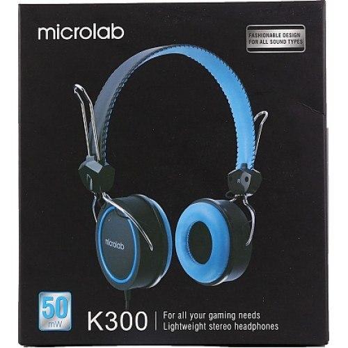 Наушники Microlab K300, Выходная мощность 50мВт, Тип крепления: Дуговые, 3,5 MiniJack, Длина кабеля 1,2м, Чёрно-Голубой