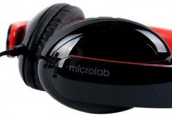 Наушники Microlab K310, Выходная мощность 50мВт, Тип крепления: Дуговые, 3,5 MiniJack, Регулятор громкости, Длина кабеля 1,5м, Чёрно-Красный