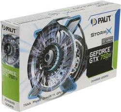 Видеокарта Palit GeForce GTX 750 StormX OC, 1 GB ,SVGA PCI Express, nVidia HDMI/DVI/VGA, GDDR5/128bit