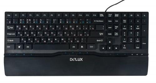Клавиатура Delux DLK-1882UB, Тонкая, Мультимедийная, USB, Анг/Рус/Каз, Чёрный