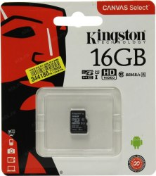 Карта памяти, Kingston, SDCS/16GBSP, MicroSDXC 16GB, Canvas Select, Class 10, без адаптера