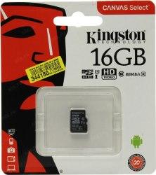 Карта памяти, Kingston, SDCS/16GBSP, MicroSDXC 16GB, Canvas Select, Class 10, без адаптера