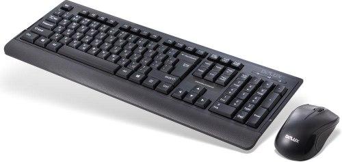 Комплект Клавиатура + Мышь, Delux, DLD-6075OUB, Оптическая Мышь, 1000DPI, USB, Анг/Рус/Каз, Длина кабеля 1,6 метра, Чёрный