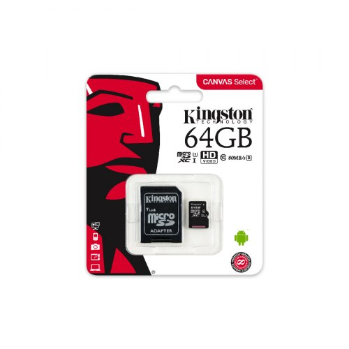 Карта памяти, Kingston, SDCS/64GB, MicroSDXC 64GB, Canvas Select, Class 10, с адаптером SD