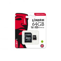 Карта памяти, Kingston, SDCS/64GB, MicroSDXC 64GB, Canvas Select, Class 10, с адаптером SD