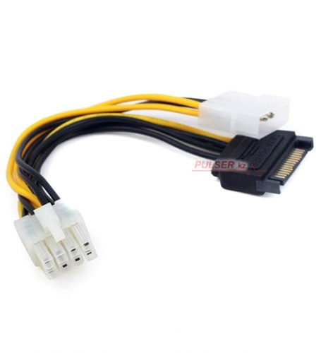 Кабель Molex 4 pin + SATA power -> 8 pin, Cablexpert CC-PSU-82 ,Cable converter for power supply