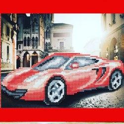 Алмазная вышивка Наследие Красный автомобиль
