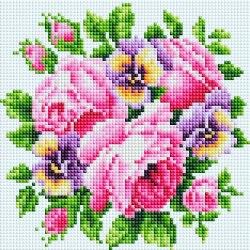 Мозаичная картина на подрамнике Белоснежка Роза и анютины глазки