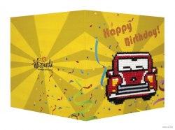 Открытка с элементами алмазной мозаики Wizardi С днём рождения (ретро автомобиль)