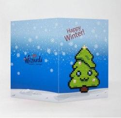 Открытка с элементами алмазной мозаики Wizardi Happy winter