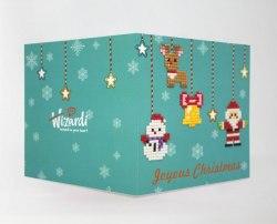 Открытка с элементами алмазной мозаики Wizardi Рождественская гирлянда