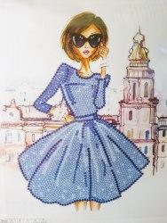 Алмазная вышивка Наследие Модная девушка в синем