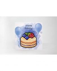 Открытка с элементами алмазной мозаики Wizardi С днём рождения (торт)