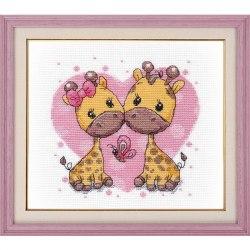 Набор для вышивания Овен Влюбленные жирафики