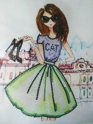 Алмазная вышивка Наследие Модная девушка с туфлями