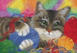 Набор для вышивания Белоснежка Котик с клубочками