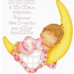 Набор для вышивания Белоснежка Метрика для малыша