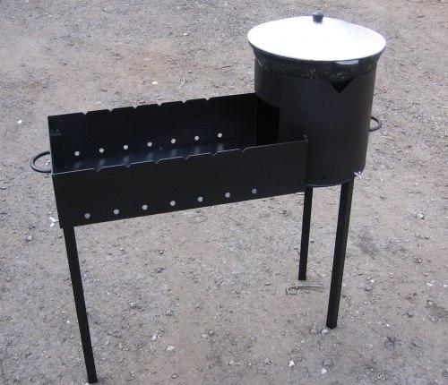 Печь под казан с мангалом из металла своими руками 91