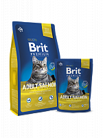 Сухой корм В НАЛИЧИИ Брит Premium Cat Adult Salmon 1,5 кг