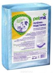 Пеленки В НАЛИЧИИ PETMIL впитывающие одноразовые 60*40см, 1 шт