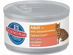 Влажный корм Hill's Science Plan Optimal Care для кошек с лососем 82 г