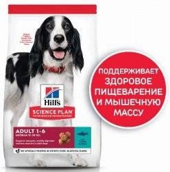 Сухой корм Hill's Science Plan для взрослых собак средних пород, с тунцом и рисом 12 кг