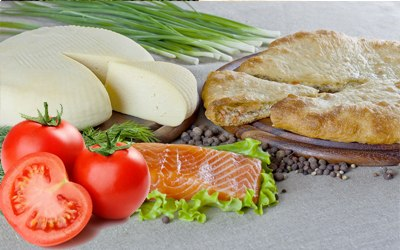 Семга, сыр и помидор