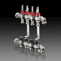 """Гребенка """"Multidis SF"""" 1"""" для панельного отопления и охлаждения Oventrop на 8 контуров, 0-5 л/мин, из нержавеющей стали"""